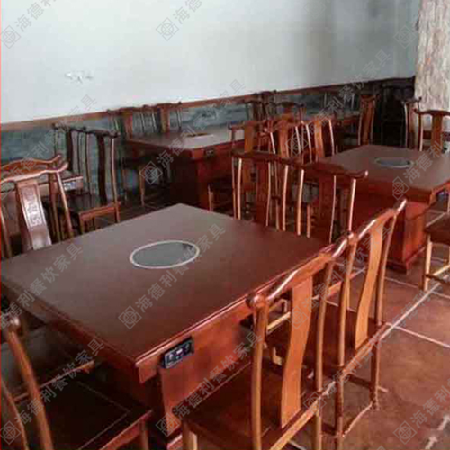 餐厅实木火锅桌椅 电磁炉橡木火锅桌椅 火锅店家具实木餐桌椅 深圳厂家批发