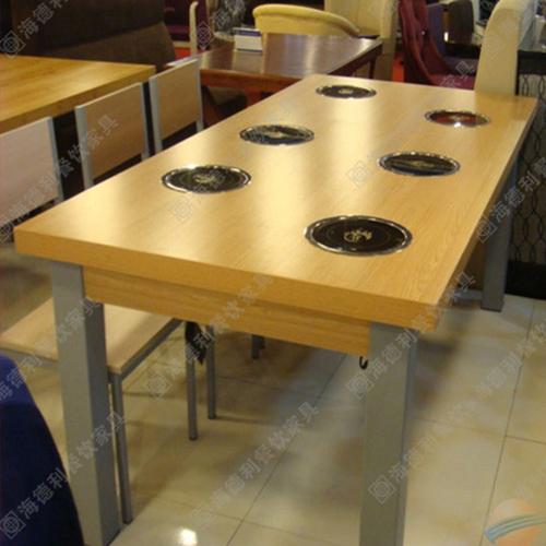 2人位/4人位/6人位实木火锅桌 实木火锅桌子 火锅餐厅实木火锅桌 广