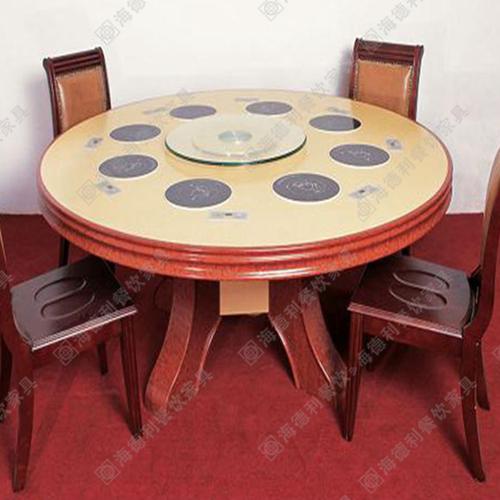 实木回转火锅桌 手动火锅餐桌 全实木电磁炉火锅桌