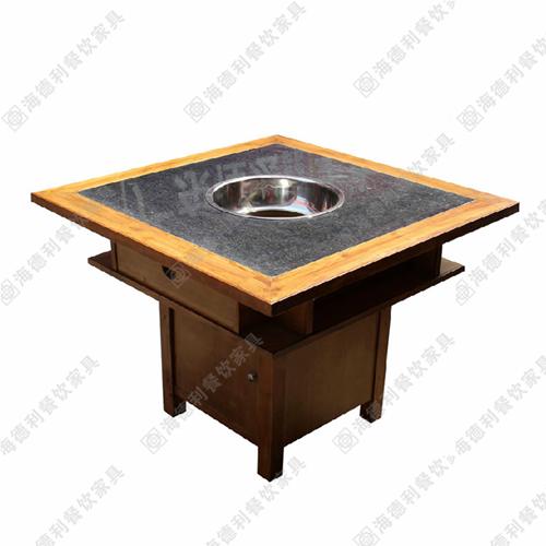 实木火锅桌 电磁炉橡木火锅桌 碳化木火锅桌