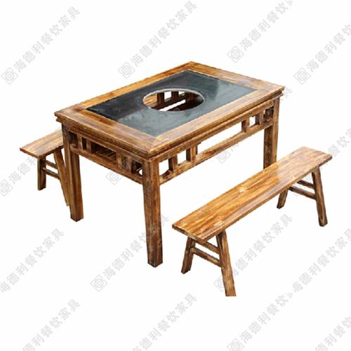 燃气灶火锅桌 煤气灶火锅桌 碳化木火锅