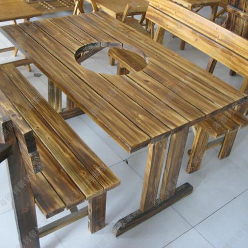 橡木实木火锅桌厂家供应 美式乡村铁艺