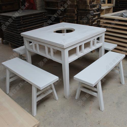白色实木柜式火锅桌大理石火锅桌椅套件