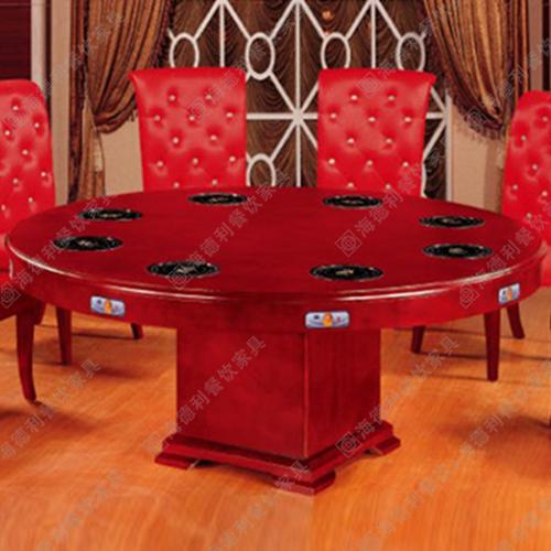 火锅桌大理石餐桌定做电磁炉桌圆实木一
