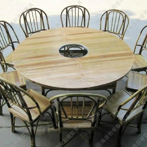 厂家直销火锅桌 电磁炉火锅桌 圆桌多人