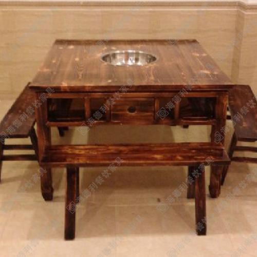 火锅桌煤气/电磁炉两用餐桌 饭桌 实木