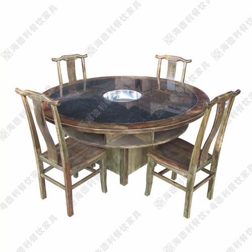 火锅桌实木圆桌户外桌火锅店电磁炉桌子