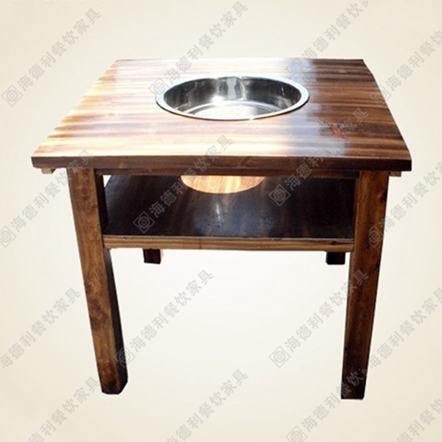 实木火锅桌椅 火锅餐桌组合批发 煤气灶
