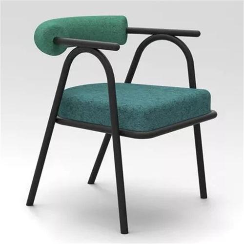 火锅店现代时尚布艺软包金属椅子
