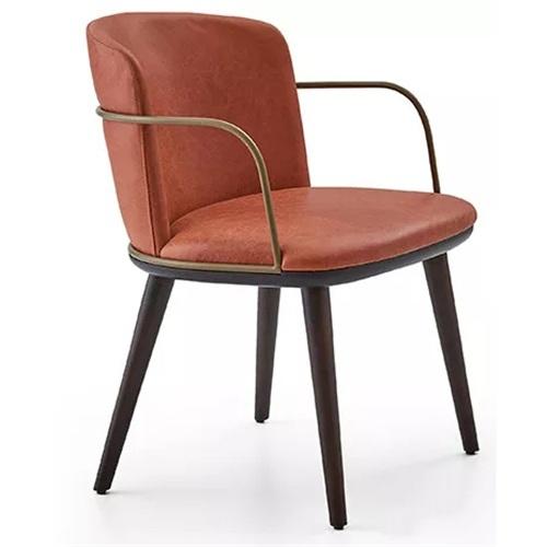 火锅店工业风皮革扶手椅