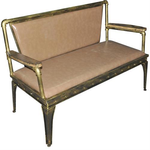 美式复古铁艺水管火锅卡座沙发