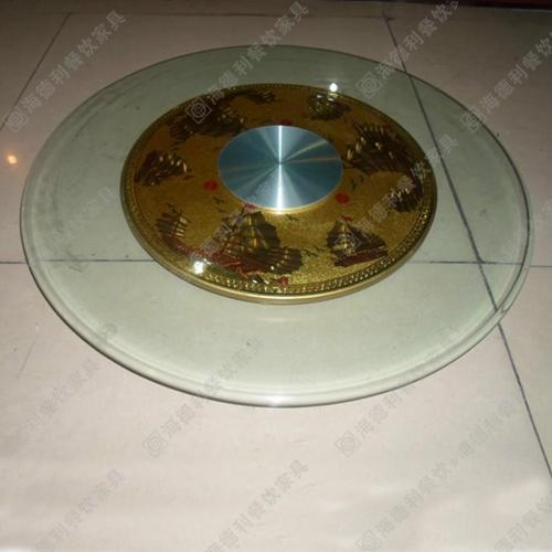 钢化玻璃转盘10MM 酒店餐厅渡铜底座艺术餐桌火锅桌玻璃转盘