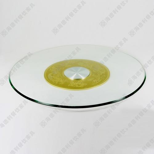 火锅桌钢化玻璃转盘 酒店餐厅不锈钢底座10mm厚钢化玻璃转盘