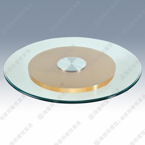 火锅桌钢化玻璃转盘 酒店餐厅带遥控器实木底钢化玻璃转盘