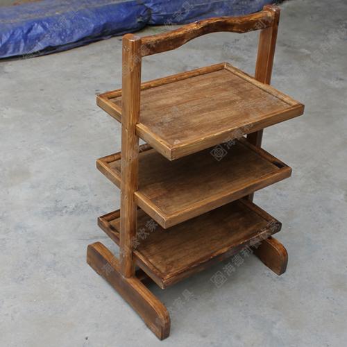 古典实木菜架,经典设计三层实木菜架,高档全实木菜架