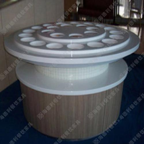 火锅店豪华多孔大理石酱料台 多用大型白色大理石酱料台定做