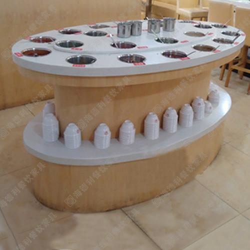 双层大理石酱料台 时尚餐厅酒店椭圆形双层白色大理石酱料台