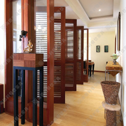 餐厅百叶窗式实木屏风 多用型全实木条形屏风隔断定做 火锅店实木条形屏风