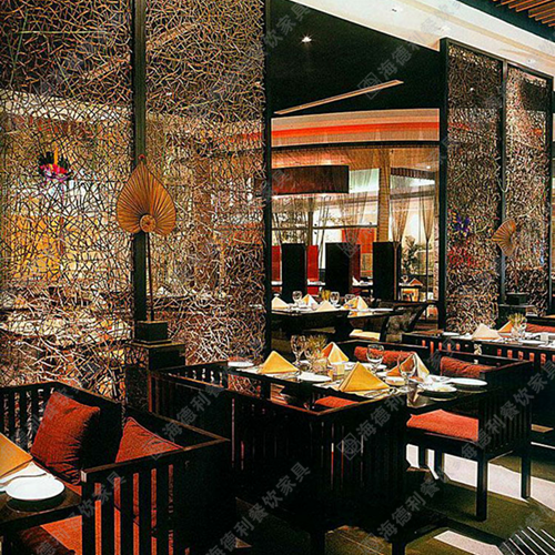 时尚玻璃屏风 火锅店餐厅艺术多彩玻璃隔断屏风
