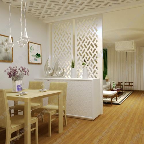 白色实木屏风隔断 现代餐厅火锅店时尚框式白色实木屏风隔断
