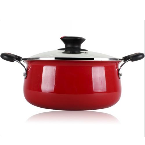 大红色不锈钢汤锅 火锅桌配套汤锅厂家