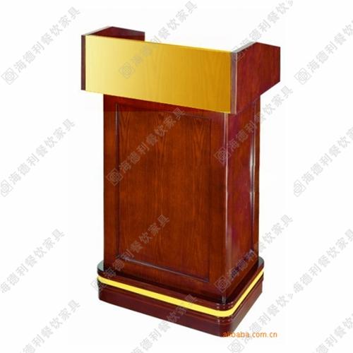 多功能实木接待台迎宾台 酒店餐厅实用全实木前台演讲台迎宾台