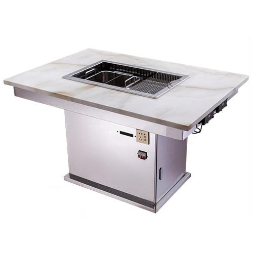 无烟火锅涮烤一体桌子_炭火烧肉桌子涮一体桌