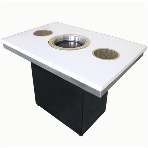 新款 自助火锅烧烤一体餐桌 大理石烤涮一体桌
