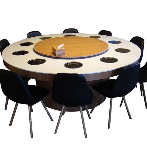 大理石火锅桌圆桌酒店火锅桌一人一锅多人位火锅餐桌