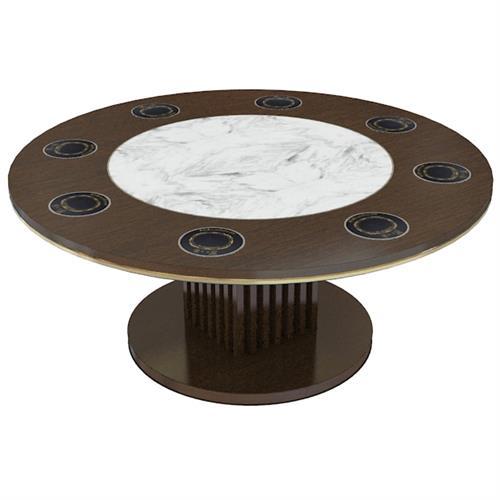 圆形大理石木作旋转电动餐桌转盘中式火锅桌一人一锅