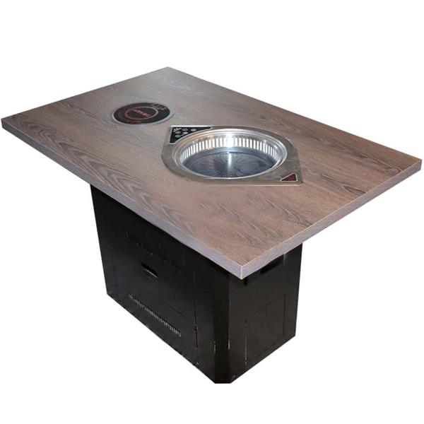 实木方形花纹桌面 黑色方桶脚 电磁炉餐桌 烤涮锅一体火锅桌