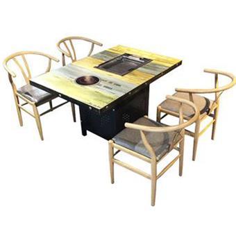 自助烤肉实木火锅一体桌