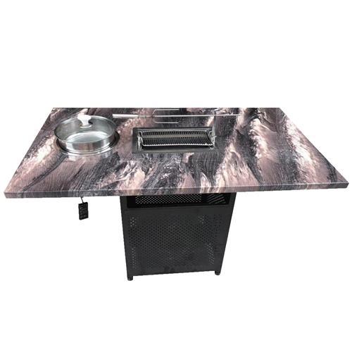 大理石无烟自助烧烤桌子_带火锅一体式餐桌_自动烧烤桌