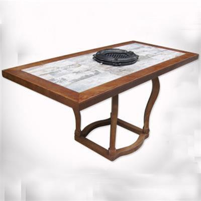 实木自助烤肉桌_炭火烤肉餐桌_烧烤店桌子