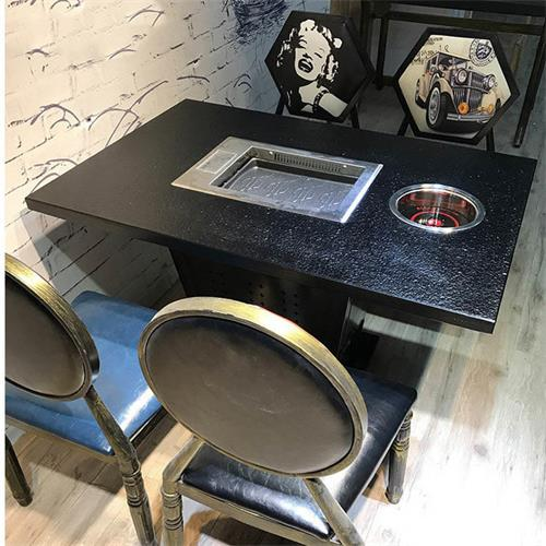 大理石电磁炉火锅桌_韩式无烟纸上烧烤桌椅_烤刷一体火锅桌椅