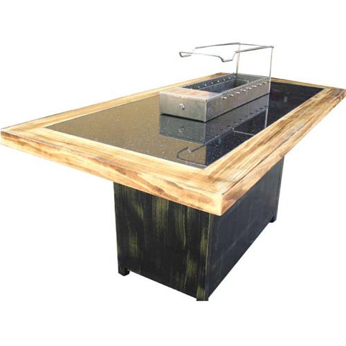 木炭无烟自助烧烤桌_实木边框相框大理石自动烧烤桌