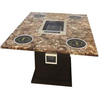 大理石电磁炉自助火锅烧烤一体桌