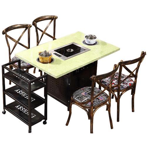 大理石桌面电磁炉韩式自助无烟火锅烧烤一体桌
