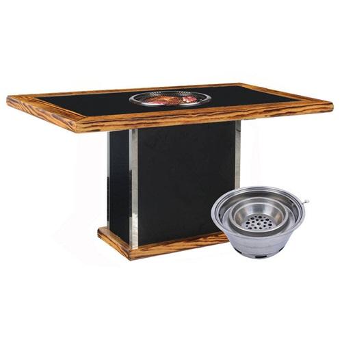 韩式下排烟炭火烤肉桌子_木炭烧烤炉桌椅