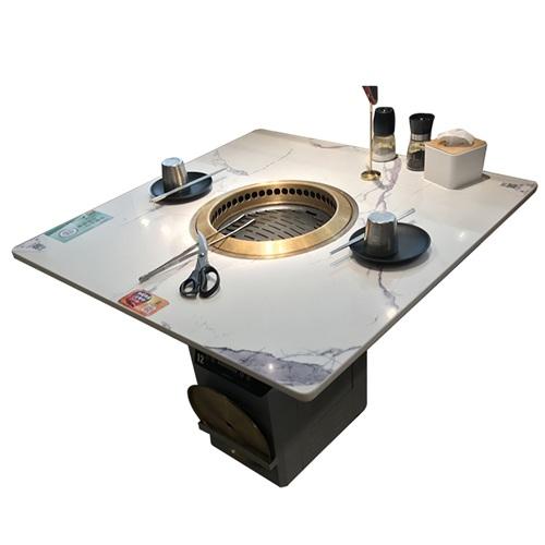 大理石下排烟烤肉桌_韩式烤肉店桌子