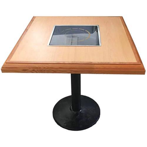 现代简约时尚2人位实木电磁炉火锅桌子