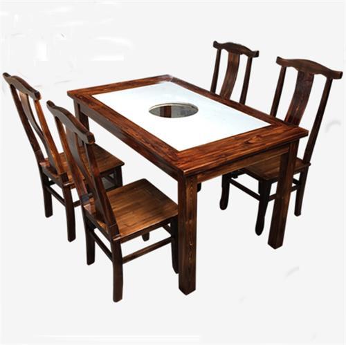 实木边框大理石台面串串香实木火锅桌椅