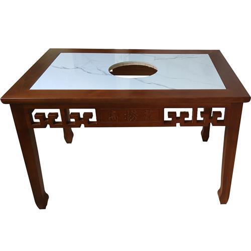 实木镶嵌大理石电磁炉老火锅桌_带抽屉火锅实木餐桌