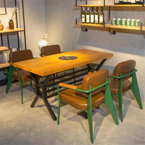实木电磁炉火锅桌椅美式复古串串香烤肉店桌子铁艺火锅餐桌椅