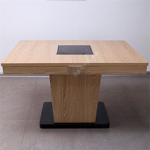 防火板带抽屉电磁炉餐桌带USB充电火锅桌子