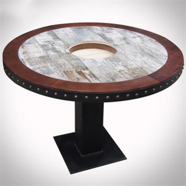 外婆家实木复古工业风烤鱼电磁炉餐桌串串香火锅桌
