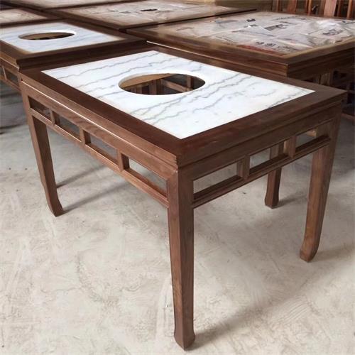 仿古中式实木边框镶嵌大理石台面电磁炉火锅桌椅