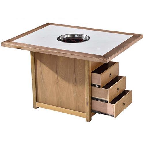 新中式仿古带抽屉实木边框镶嵌大理石下沉式火锅桌