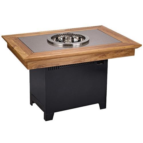 实木边框镶嵌大理石台面无烟净化火锅桌