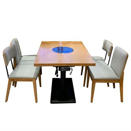 简约木制火锅餐桌_木质条形火锅桌